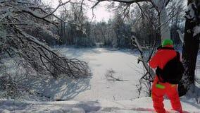 做照片的摄影师冻湖 股票录像