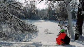 做照片的摄影师冻湖 影视素材