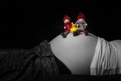 做父母玩偶和小鸭子坐怀孕的腹部 免版税库存图片