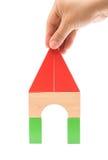 做玩具阻拦象一个房子的形状白色的 库存图片