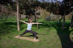 做瑜伽健身锻炼的年轻健康白种人妇女在公园 免版税库存图片