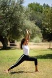 做瑜伽本质上的年轻阿拉伯妇女 库存图片
