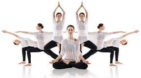 做瑜伽用不同的姿势的美丽的妇女拼贴画 免版税库存照片