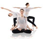 做瑜伽用不同的姿势的美丽的妇女拼贴画 图库摄影