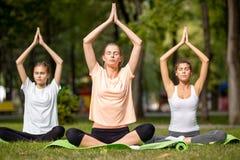 做瑜伽的三少女坐在绿草的瑜伽席子在公园在一温暖的天 免版税库存照片