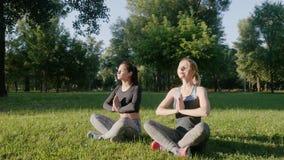 做瑜伽的两个美丽的女孩户外 股票录像