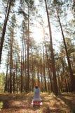 做瑜伽的人在杉木森林里 库存照片