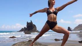 做瑜伽的女孩平衡在站立在石头的一条腿 给蒲公英领域开花的长发头脑和平松弛白人妇女年轻人穿衣 健康生活方式 股票视频