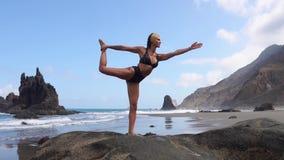 做瑜伽的女孩平衡在站立在石头的一条腿 给蒲公英领域开花的长发头脑和平松弛白人妇女年轻人穿衣 健康生活方式 影视素材