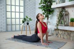 做瑜伽的少妇在早晨公园 免版税图库摄影