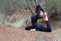 做瑜伽的少妇在森林里 免版税库存照片