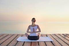 做瑜伽的少妇背面图 免版税图库摄影
