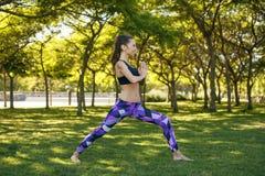做瑜伽的美丽的女孩户外 免版税库存图片