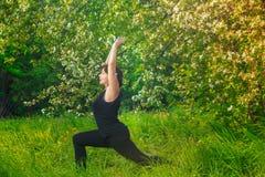 做瑜伽的美丽的妇女户外在绿草 库存照片