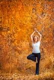做瑜伽的美丽的妇女户外在黄色叶子 免版税库存照片