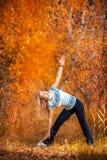 做瑜伽的美丽的妇女户外在黄色草 库存图片