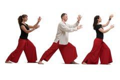 做瑜伽看法被隔绝的白色的人们 免版税库存照片