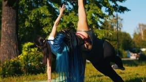 做瑜伽锻炼的两名年轻运动的妇女在公园-一名妇女有长的蓝色dreadlocks 影视素材