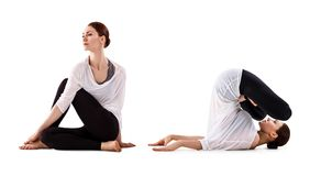 做瑜伽锻炼的少妇拼贴画 免版税库存照片