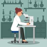做生物研究的妇女科学家使用显微镜 工作场所的女性生物学家 在背景的实验室设备 向量例证