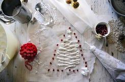 做白色圣诞节甜蛋白甜饼用石榴 免版税图库摄影