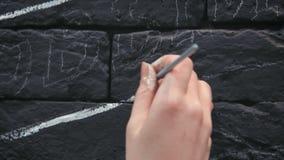 做白色设计的年轻女性画家的背面图关闭在咖啡店的黑砖墙 股票视频