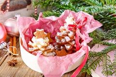 做的家烘烤了圣诞节姜饼树作为礼物 库存照片
