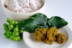 做的著名泰国绿色咖喱成份 免版税库存图片