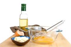 做的蛋黄酱调味汁成份 免版税库存照片