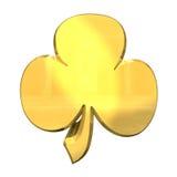 做的3D -在金子的三叶草 库存图片