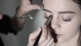 做眼睛构成的化妆师 做专业构成,眼影的女孩 股票录像