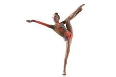 做站立的分裂的少年舞蹈家女孩 免版税库存照片