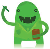 做笔记的绿色微笑的办公室工作者 库存例证