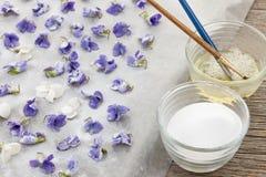 做糖煮的紫罗兰 免版税库存照片