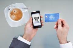 做网上购物的买卖人 免版税库存照片