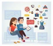 做网上shoppin的男人和妇女,浏览互联网在 皇族释放例证