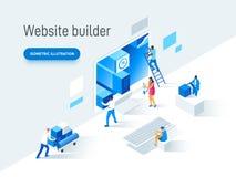 做网站的人的现代平的传染媒介例证概念网页设计 创造性的着陆页设计 向量例证