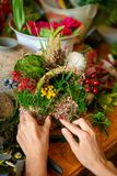做美丽的花束的女性手花在背景 库存图片