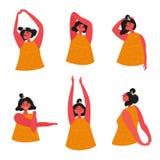 做背部疼痛的后面舒展的妇女锻炼 皇族释放例证