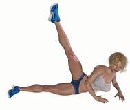 做腿部锻炼的妇女 库存照片