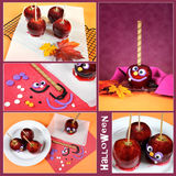 做自创愉快的万圣夜奶糖苹果拼贴画 库存照片