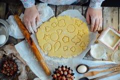 做自创的面包店,姜饼曲奇饼特写镜头 xmas swee 图库摄影