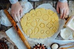 做自创的面包店,姜饼曲奇饼特写镜头 xmas swee 免版税库存照片