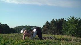 做舒展锻炼的女孩在公园 影视素材