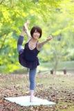 做舞蹈姿势的瑜伽阁下的日本妇女 库存照片