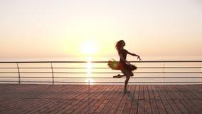 做芭蕾的黑芭蕾舞短裙的少妇在沿海岸区 Bosk 阳光 在跳跃的有吸引力的芭蕾舞女演员实践 端 影视素材
