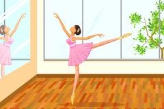 做芭蕾舞蹈的美丽的妇女 免版税库存图片