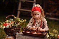 做花楸浆果的逗人喜爱的儿童女孩垂直的画象在秋天庭院里成串珠状 免版税图库摄影