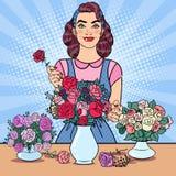 做花的微笑的妇女卖花人 流行艺术例证 库存例证