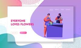 做花花束的花店材料,创造顾客或客户的设计构成 卖花人行业,工作 向量例证